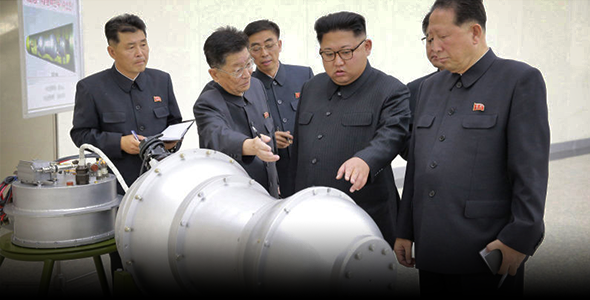North Korean leader Kim Jong-un inspecting an apparent hydrogen bomb in 2017. Image: Korean Central News Agency