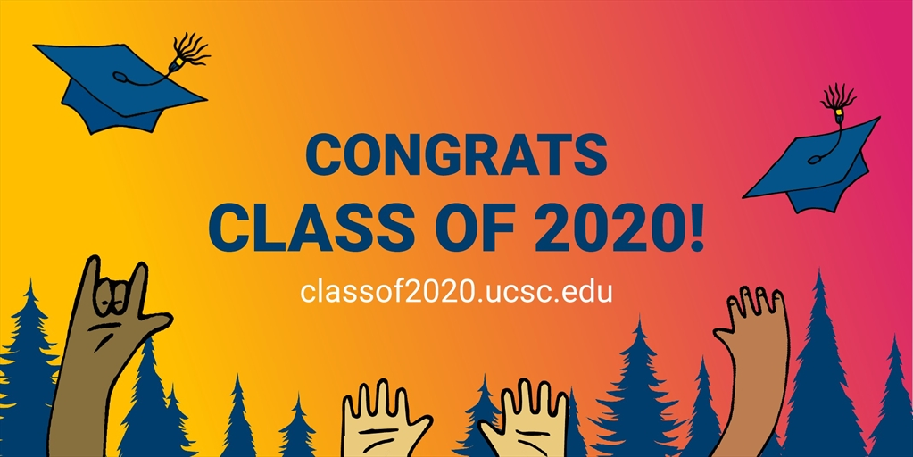 Class of 2020 congratulatory illustration with a sunset and hands tossing graduation hats into the air.