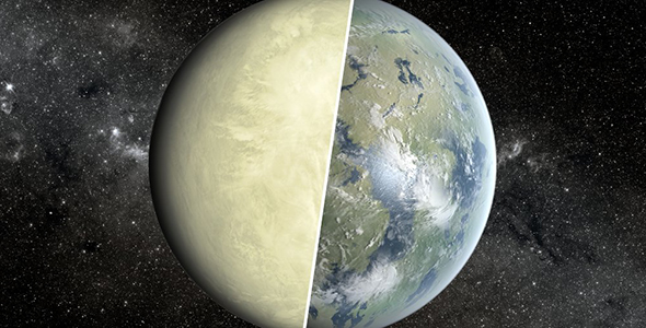 An artist's conception of a super Venus planet on the left and a super Earth on the right.