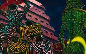 "Photo shows detail from Eduardo Carillo's influential work, ""Las Tropicanes"""