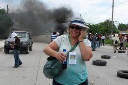 Photo of UC Santa Cruz emerita professor reporting on protests in Honduras.