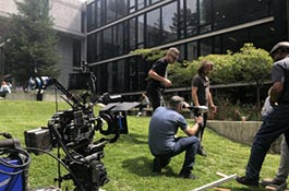 Filming taking place near the UCSC McHenry Library