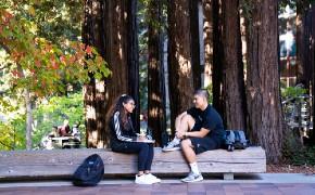 Two students on UCSC campus (Photo by Carolyn Lagattuta)