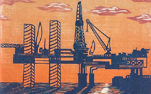 Cassidy Skillman, Neglected Places: Below The Offshore Rig. Reduction Woodcut on Kozo