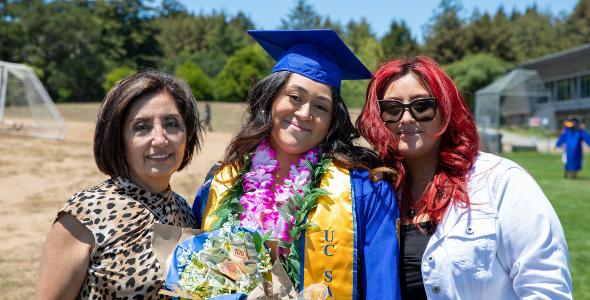 A joyful moment in the sun for new graduates and their families. Photo by Carolyn Lagattuta.